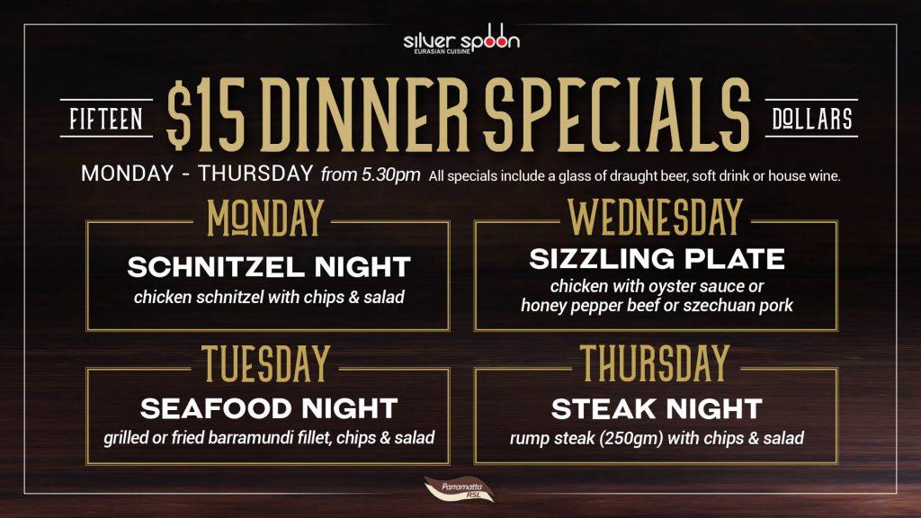 $15 Dinner Specials